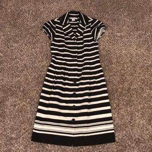 Liz Claiborne Black/White Striped Shirt Dress